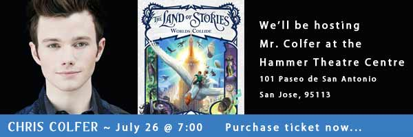 Chris Colfer, July 26 2 7:00, purchase tickets now...We're hosting this event at Hammer Theatre Centre, 101 El Paseo de San Antonio, San Jose