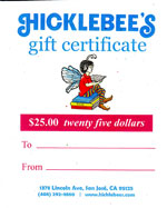 Hicklebees gift certificate